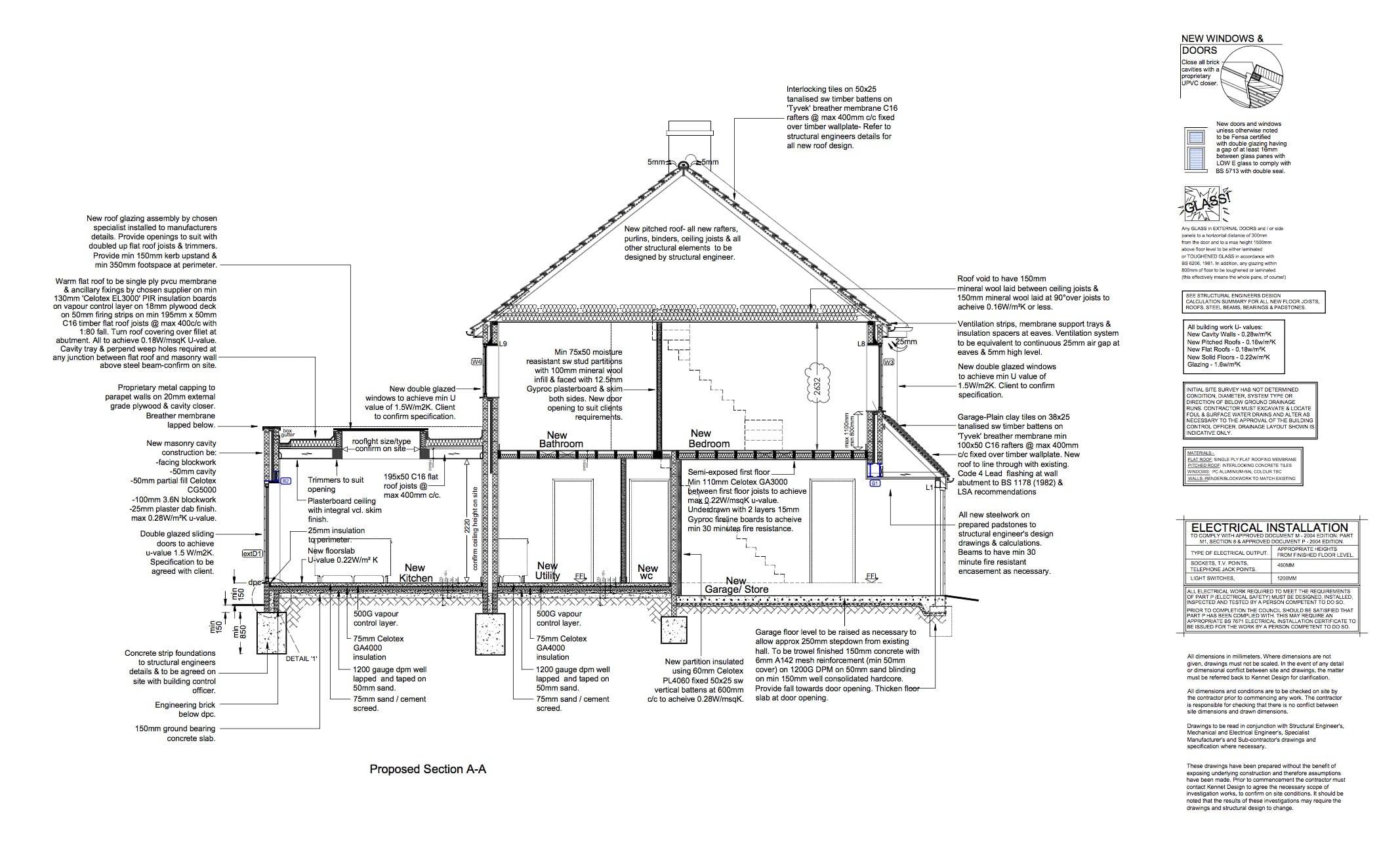 section details 2 for extension loft conversion in bath