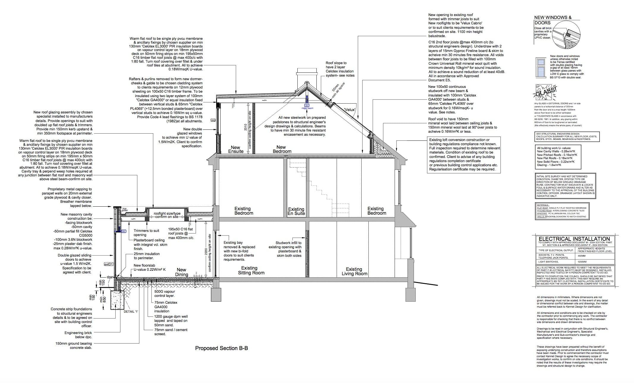 section details for extension loft conversion in bath